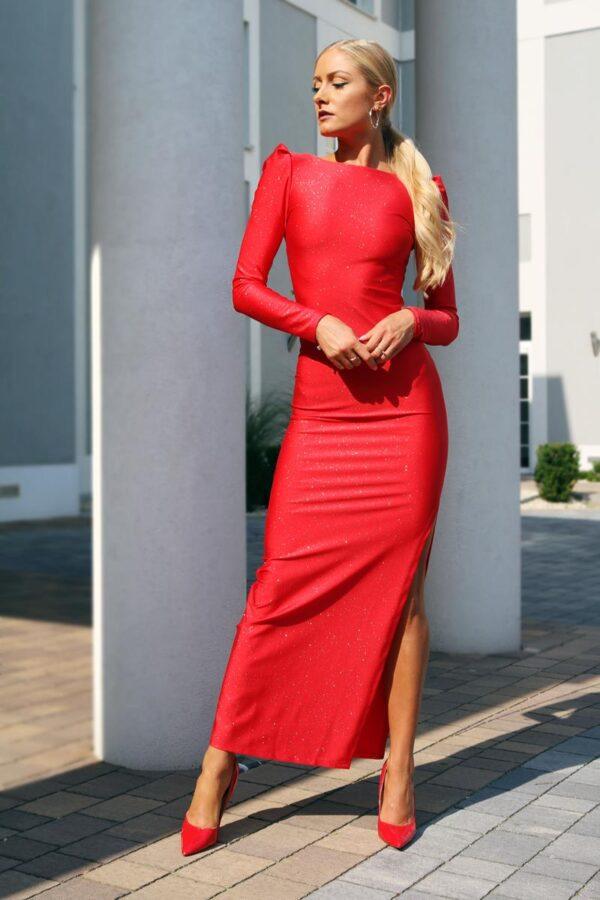 5d3724a069 Brokatowa sukienka maxi z dekoltem na plecach – kolor czerwony