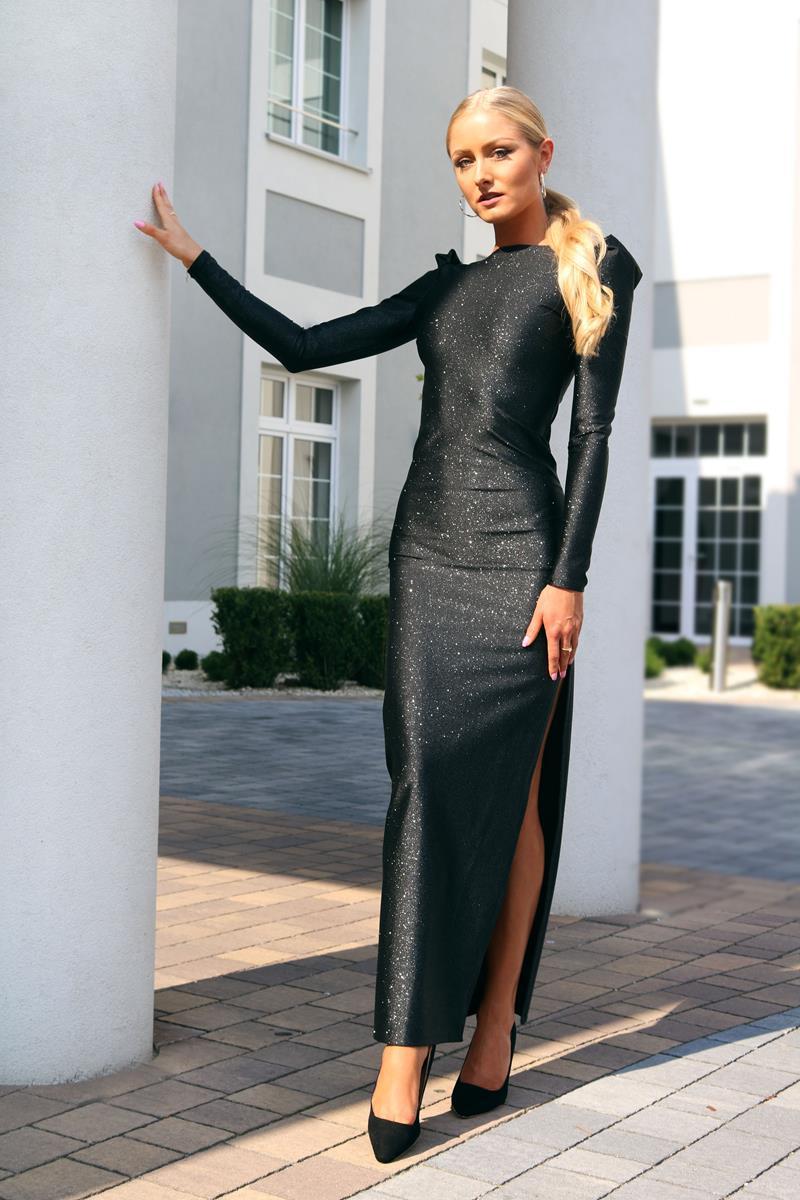 bf1ed48961 Brokatowa sukienka maxi z dekoltem na plecach – kolor czarny - YOLOLOOK