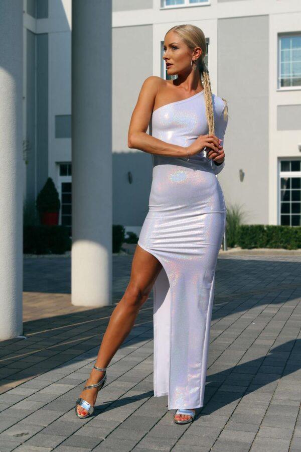 długa mieniąca się sukienka z jednym rekawem 1 (Copy)