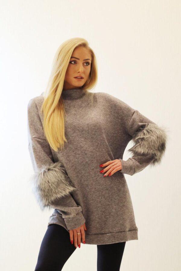szary sweter z futerkiem 1.1
