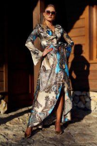 elegancka satynowa sukienka kopertowa 1.1