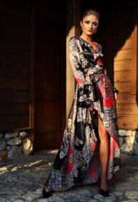 elegancka satynowa sukienka kopertowa 1.9