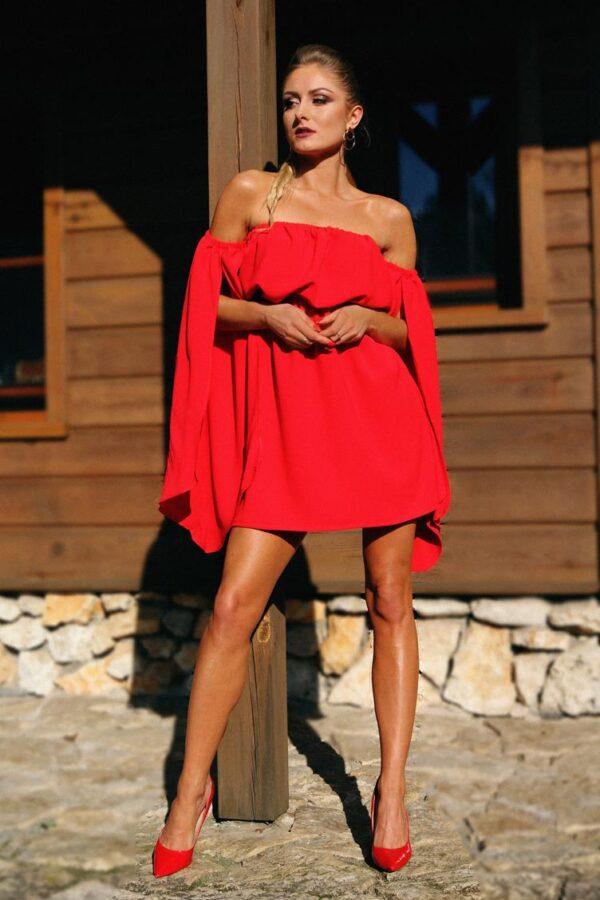 elegancka sukienka na lato czerwona 1.1