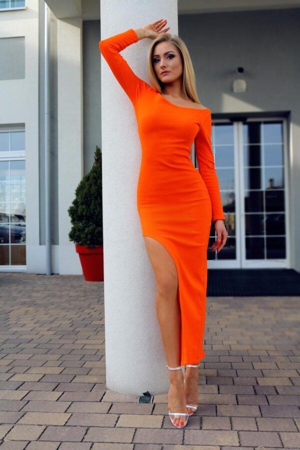 bawełniana sukienka maxi pomarańczowa 1.3