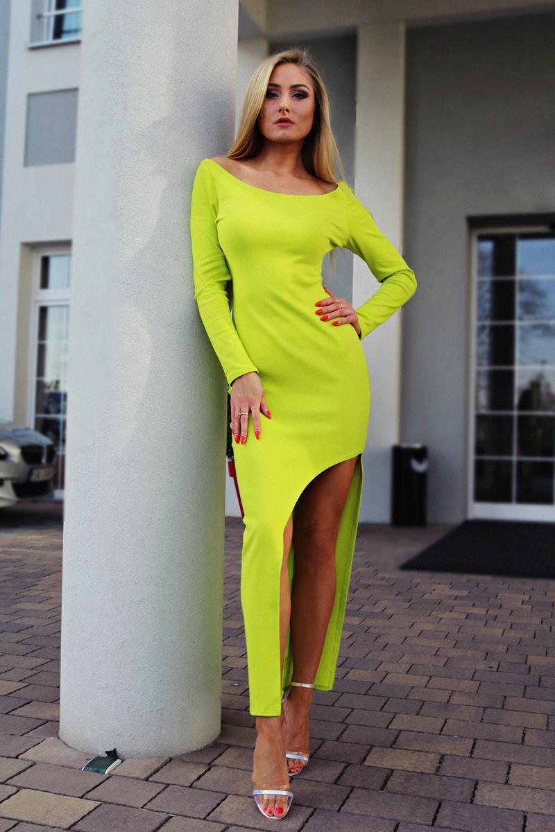 e429c3f043 Bawełniana sukienka maxi – neonowa zieleń - YOLOLOOK