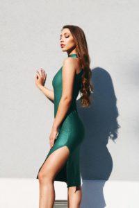 brokatowa sukienka dopasowana - butelkowa zieleń 1.12 (Copy)