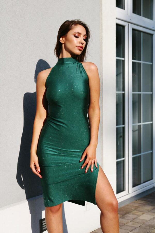 brokatowa sukienka dopasowana - butelkowa zieleń 1.13 (Copy)