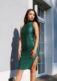brokatowa sukienka dopasowana - butelkowa zieleń 1.16 (Copy)