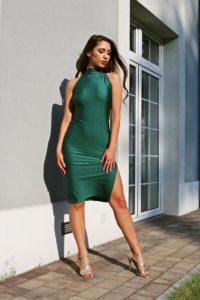 brokatowa sukienka dopasowana - butelkowa zieleń 1.17 (Copy)
